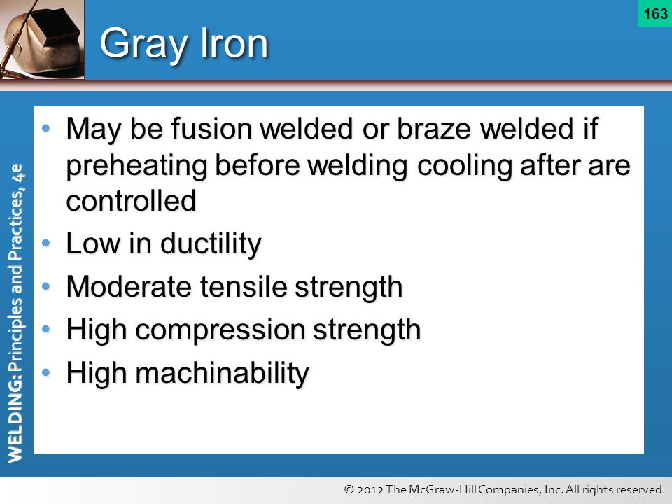 © 2012 The McGraw-Hill Companies, Inc. All rights reserved. WELDING: Principles and Practices, 4e 163 Gray Iron May be fusion welded or braze welded i