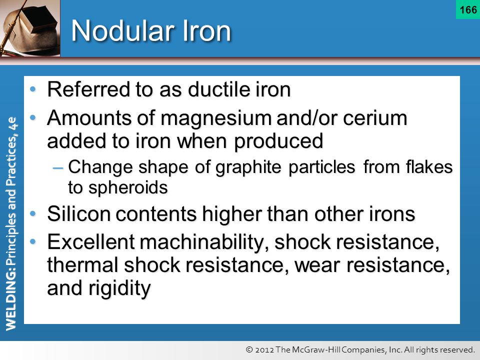 © 2012 The McGraw-Hill Companies, Inc. All rights reserved. WELDING: Principles and Practices, 4e 166 Nodular Iron Referred to as ductile ironReferred