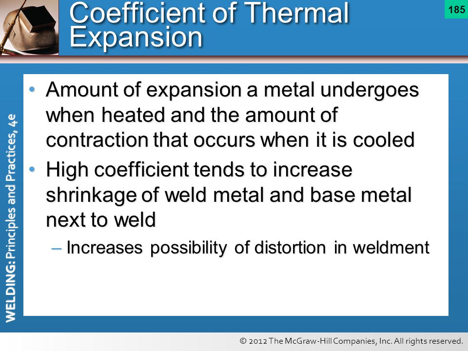 © 2012 The McGraw-Hill Companies, Inc. All rights reserved. WELDING: Principles and Practices, 4e 185 Coefficient of Thermal Expansion Amount of expan