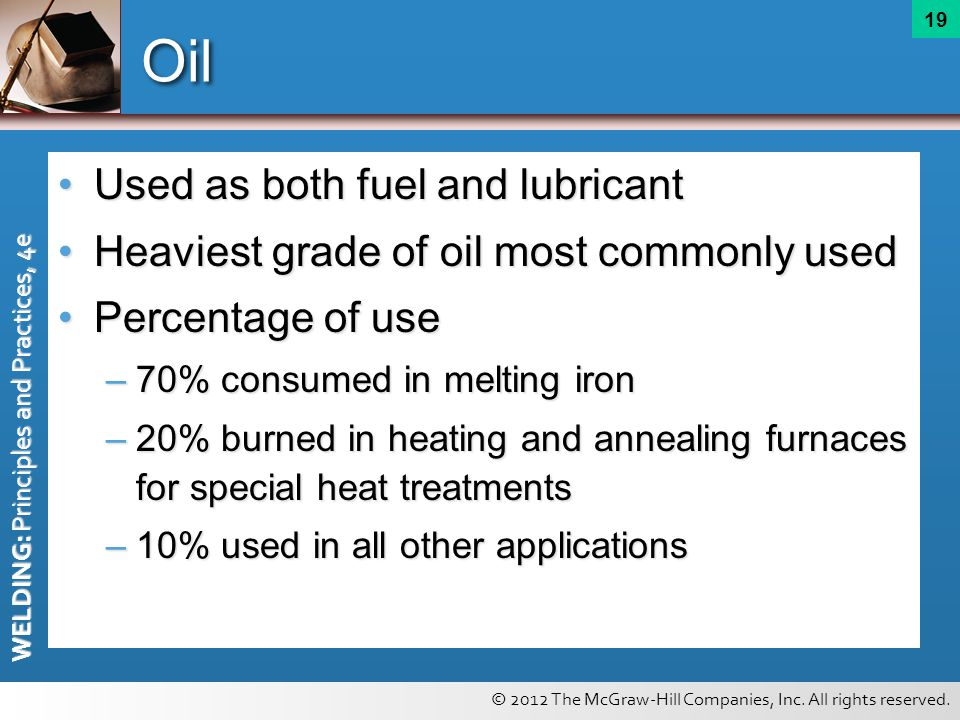 © 2012 The McGraw-Hill Companies, Inc. All rights reserved. WELDING: Principles and Practices, 4e 19 Oil Used as both fuel and lubricantUsed as both f
