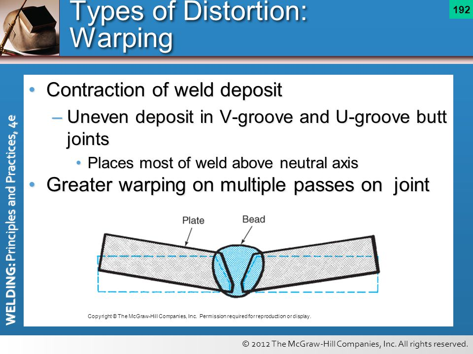 © 2012 The McGraw-Hill Companies, Inc. All rights reserved. WELDING: Principles and Practices, 4e 192 Types of Distortion: Warping Contraction of weld