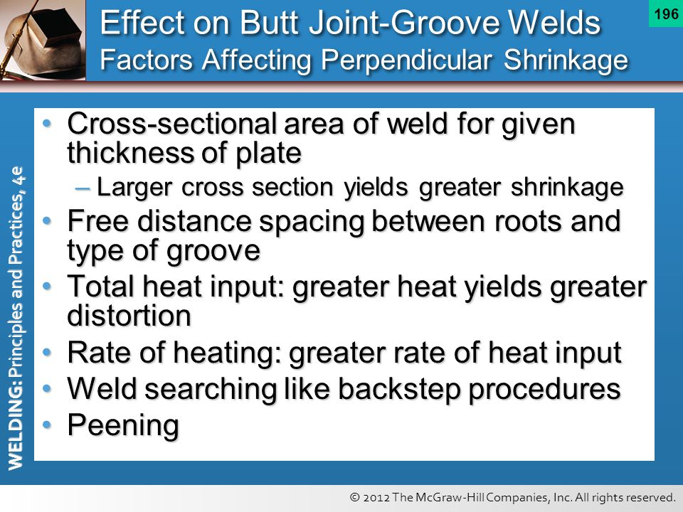 © 2012 The McGraw-Hill Companies, Inc. All rights reserved. WELDING: Principles and Practices, 4e 196 Effect on Butt Joint-Groove Welds Factors Affect