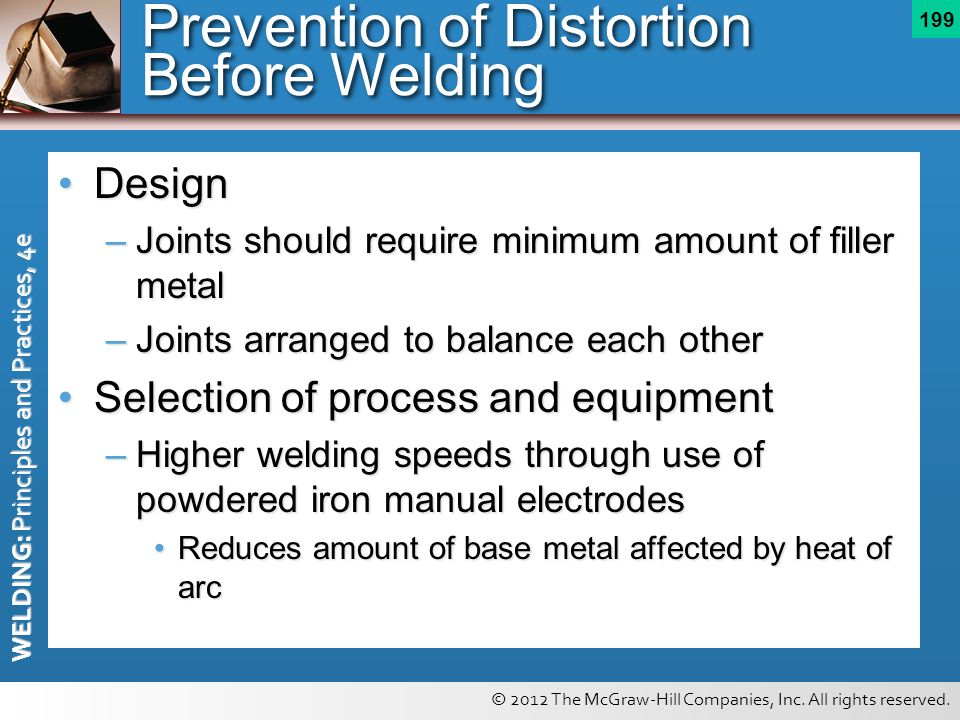 © 2012 The McGraw-Hill Companies, Inc. All rights reserved. WELDING: Principles and Practices, 4e 199 Prevention of Distortion Before Welding DesignDe