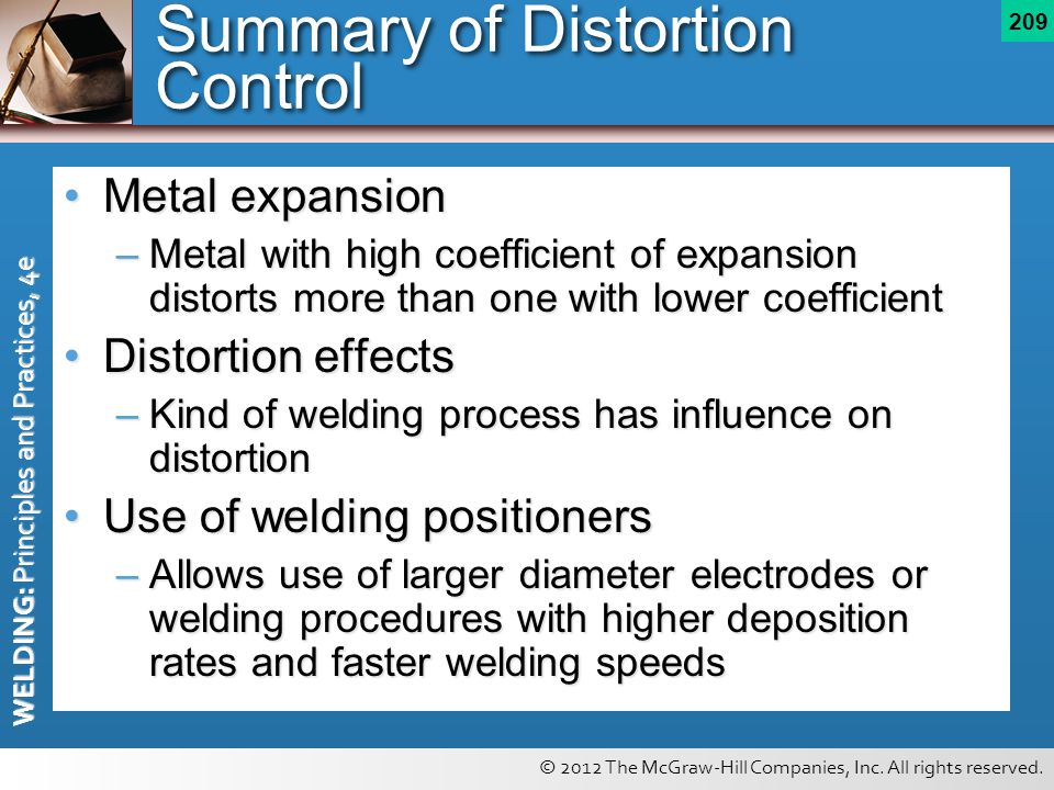 © 2012 The McGraw-Hill Companies, Inc. All rights reserved. WELDING: Principles and Practices, 4e 209 Summary of Distortion Control Metal expansionMet
