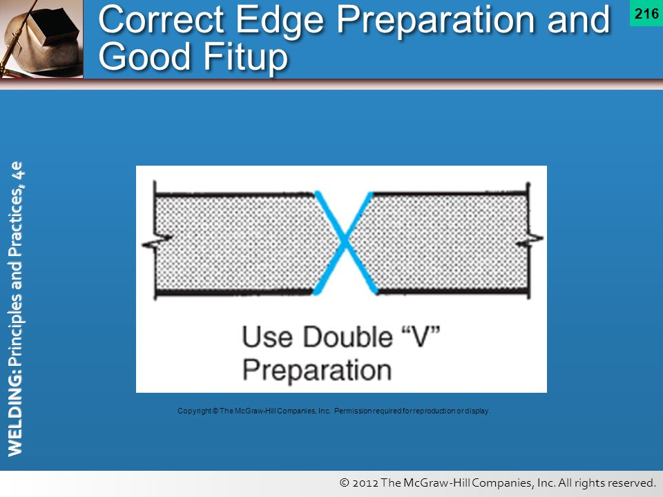 © 2012 The McGraw-Hill Companies, Inc. All rights reserved. WELDING: Principles and Practices, 4e 216 Correct Edge Preparation and Good Fitup Copyrigh