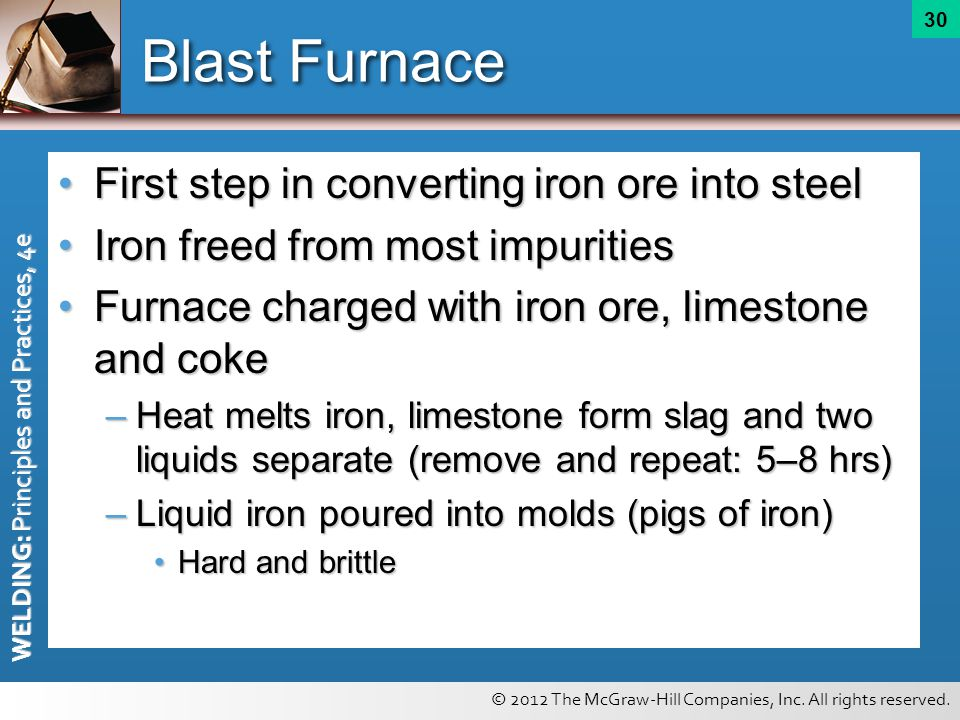 © 2012 The McGraw-Hill Companies, Inc. All rights reserved. WELDING: Principles and Practices, 4e 30 Blast Furnace First step in converting iron ore i
