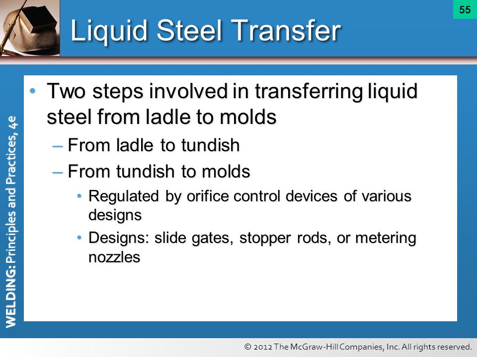 © 2012 The McGraw-Hill Companies, Inc. All rights reserved. WELDING: Principles and Practices, 4e 55 Liquid Steel Transfer Two steps involved in trans
