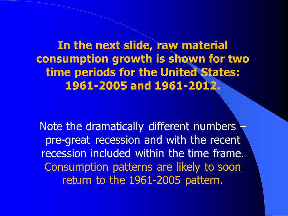In the next slide, raw material consumption growth is shown for two time periods for the United States: 1961-2005 and 1961-2012. Note the dramatically