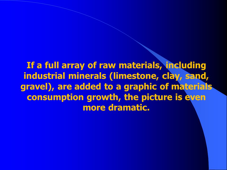 If a full array of raw materials, including industrial minerals (limestone, clay, sand, gravel), are added to a graphic of materials consumption growt