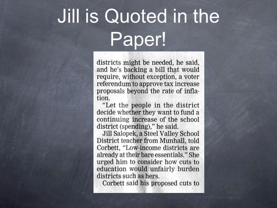 Jill is Quoted in the Paper!