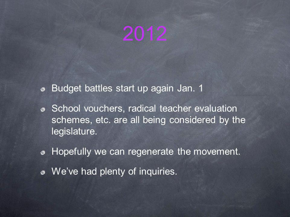 2012 Budget battles start up again Jan. 1 School vouchers, radical teacher evaluation schemes, etc.