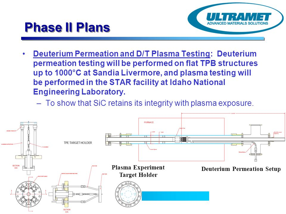 Advanced Materials Solutions Phase II Plans Deuterium Permeation and D/T Plasma Testing: Deuterium permeation testing will be performed on flat TPB st