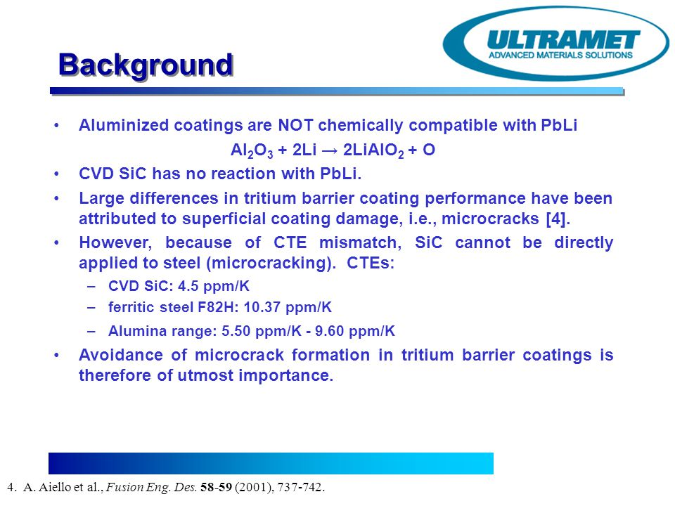 Advanced Materials Solutions Background Aluminized coatings are NOT chemically compatible with PbLi Al 2 O 3 + 2Li 2LiAlO 2 + O CVD SiC has no reactio