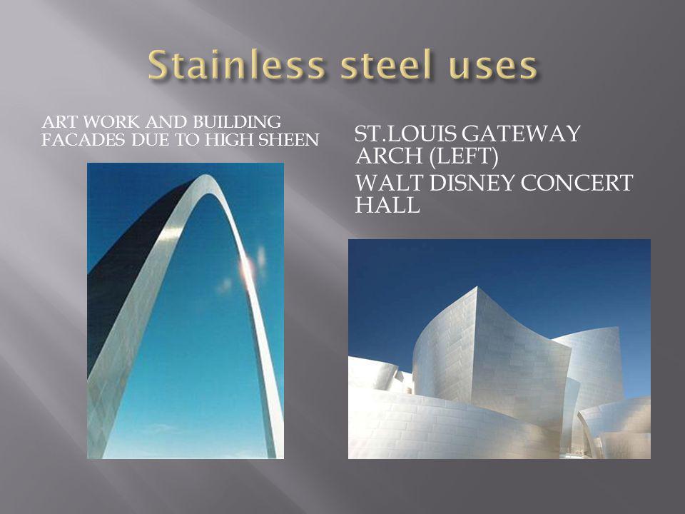ART WORK AND BUILDING FACADES DUE TO HIGH SHEEN ST.LOUIS GATEWAY ARCH (LEFT) WALT DISNEY CONCERT HALL