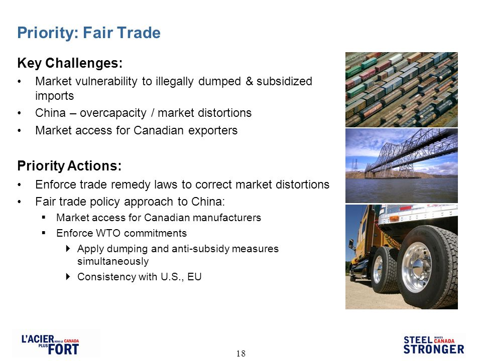 18 Priority: Fair Trade Key Challenges: Market vulnerability to illegally dumped & subsidized imports China – overcapacity / market distortions Market access for Canadian exporters Priority Actions: Enforce trade remedy laws to correct market distortions Fair trade policy approach to China: Market access for Canadian manufacturers Enforce WTO commitments Apply dumping and anti-subsidy measures simultaneously Consistency with U.S., EU
