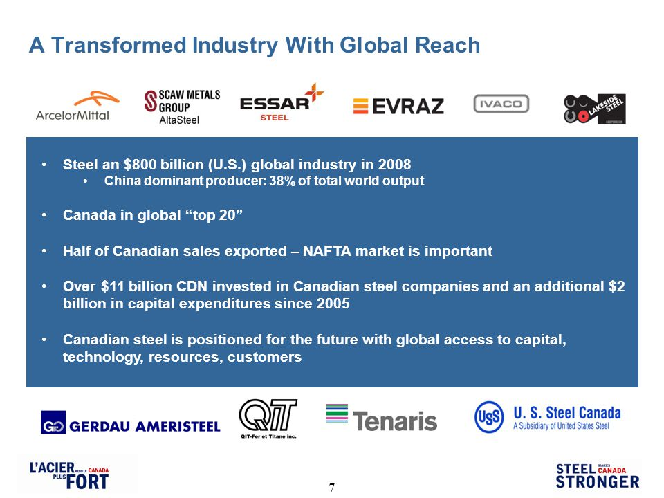 7 A Transformed Industry With Global Reach Steel an $800 billion (U.S.) global industry in 2008 China dominant producer: 38% of total world output Canada in global top 20 Half of Canadian sales exported – NAFTA market is important Over $11 billion CDN invested in Canadian steel companies and an additional $2 billion in capital expenditures since 2005 Canadian steel is positioned for the future with global access to capital, technology, resources, customers