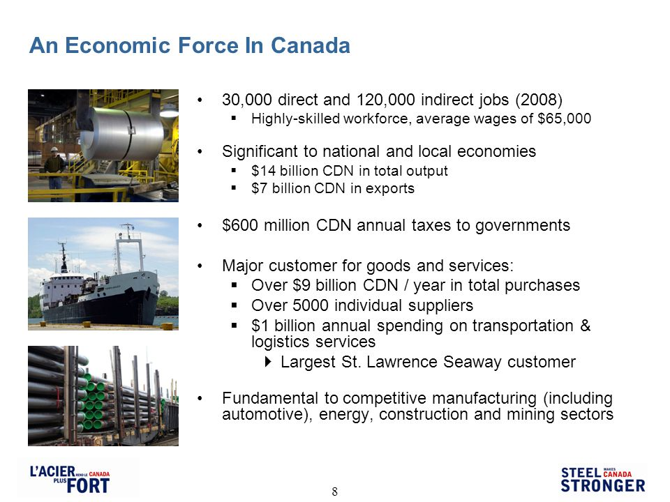 8 An Economic Force In Canada 30,000 direct and 120,000 indirect jobs (2008) Highly-skilled workforce, average wages of $65,000 Significant to national and local economies $14 billion CDN in total output $7 billion CDN in exports $600 million CDN annual taxes to governments Major customer for goods and services: Over $9 billion CDN / year in total purchases Over 5000 individual suppliers $1 billion annual spending on transportation & logistics services Largest St.