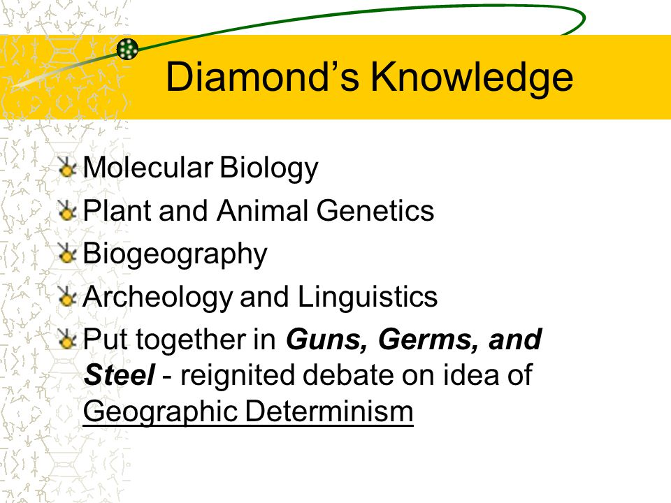 Diamonds Knowledge Molecular Biology Plant and Animal Genetics Biogeography Archeology and Linguistics Put together in Guns, Germs, and Steel - reignited debate on idea of Geographic Determinism