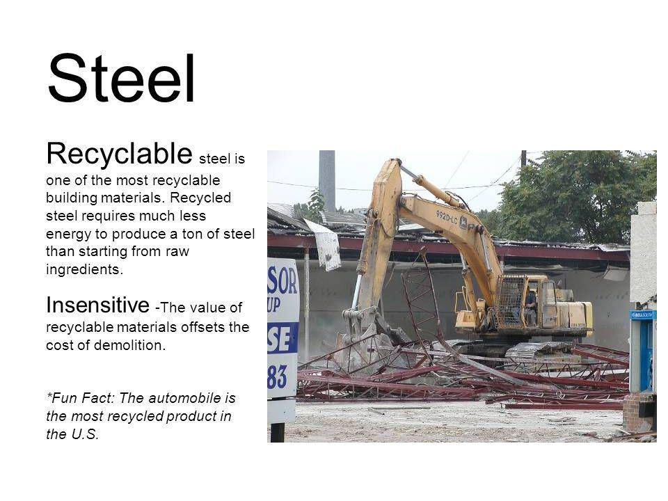 Steel Recyclable steel is one of the most recyclable building materials.