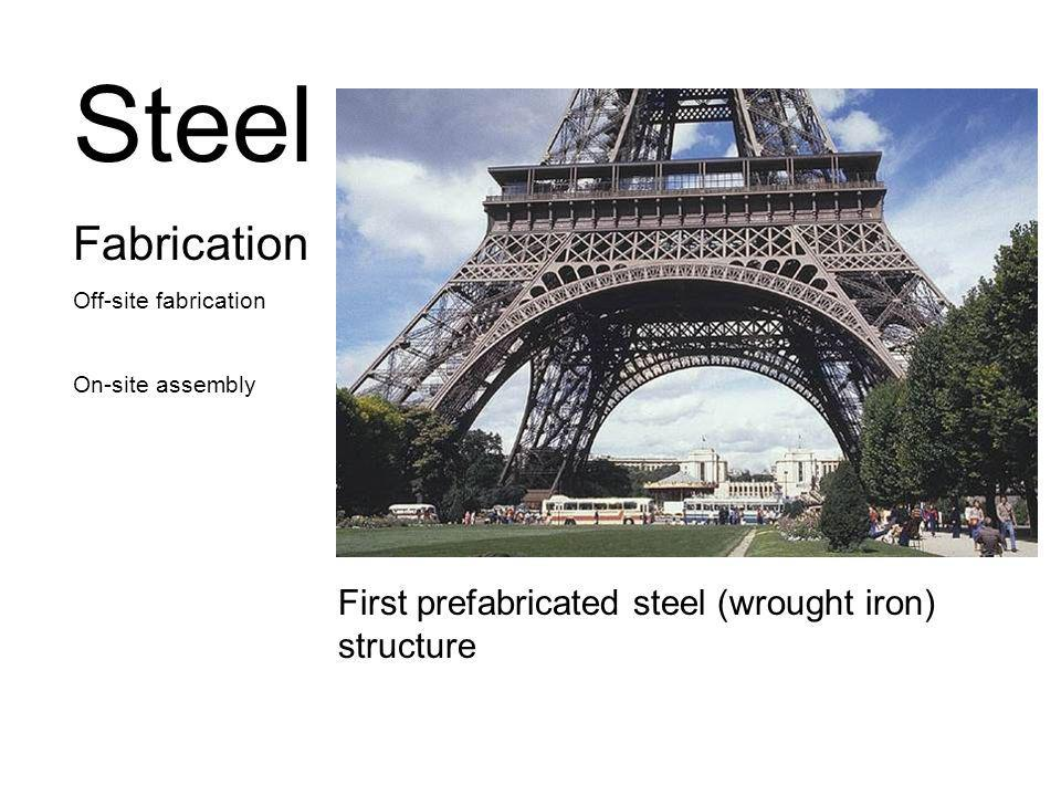 Steel Fabrication Off-site fabrication On-site assembly First prefabricated steel (wrought iron) structure