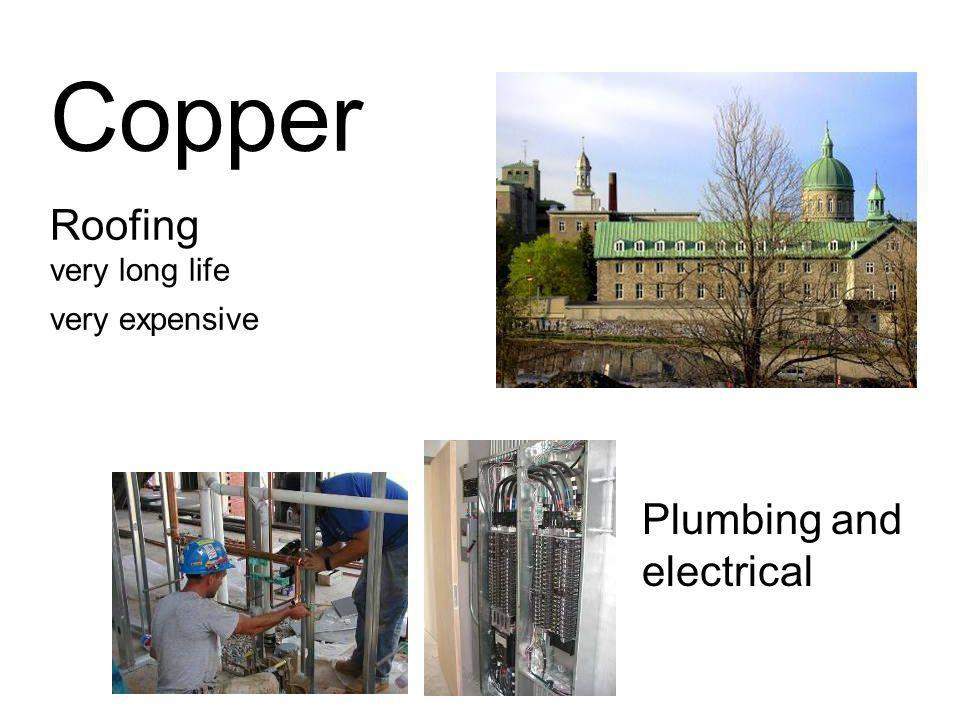 Copper Roofing very long life very expensive Plumbing and electrical