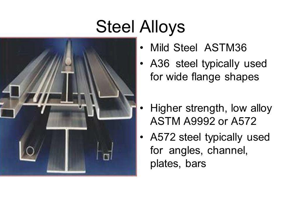Steel Alloys Mild Steel ASTM36 A36 steel typically used for wide flange shapes Higher strength, low alloy ASTM A9992 or A572 A572 steel typically used for angles, channel, plates, bars