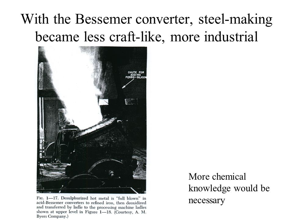 With the Bessemer converter, steel-making became less craft-like, more industrial More chemical knowledge would be necessary