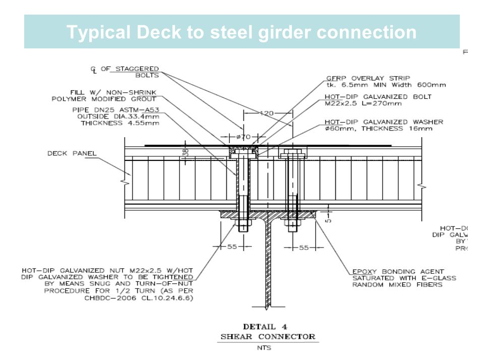 Typical Deck to steel girder connection