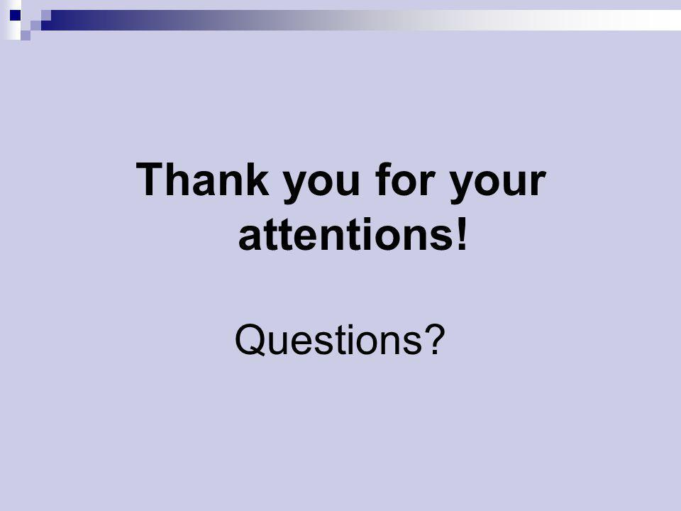 Thank you for your attentions! Questions?