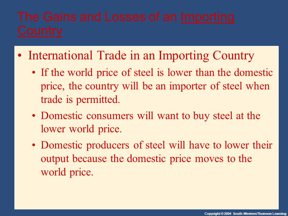 Copyright © 2004 South-Western/Thomson Learning The Gains and Losses of an Importing Country International Trade in an Importing Country If the world