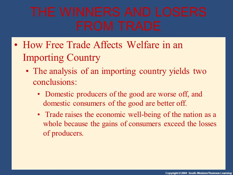 Copyright © 2004 South-Western/Thomson Learning THE WINNERS AND LOSERS FROM TRADE How Free Trade Affects Welfare in an Importing Country The analysis of an importing country yields two conclusions: Domestic producers of the good are worse off, and domestic consumers of the good are better off.