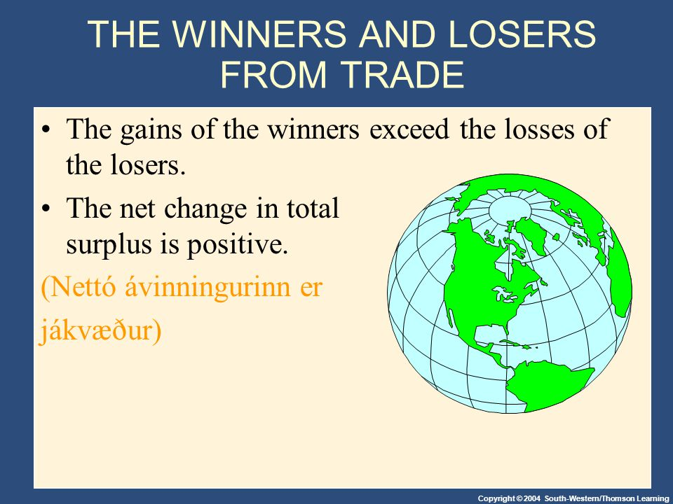 Copyright © 2004 South-Western/Thomson Learning THE WINNERS AND LOSERS FROM TRADE The gains of the winners exceed the losses of the losers. The net ch