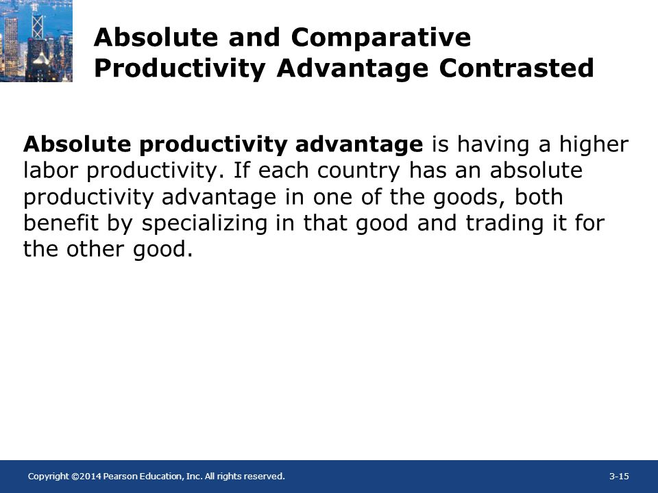 Copyright ©2014 Pearson Education, Inc. All rights reserved.3-15 Absolute and Comparative Productivity Advantage Contrasted Absolute productivity adva