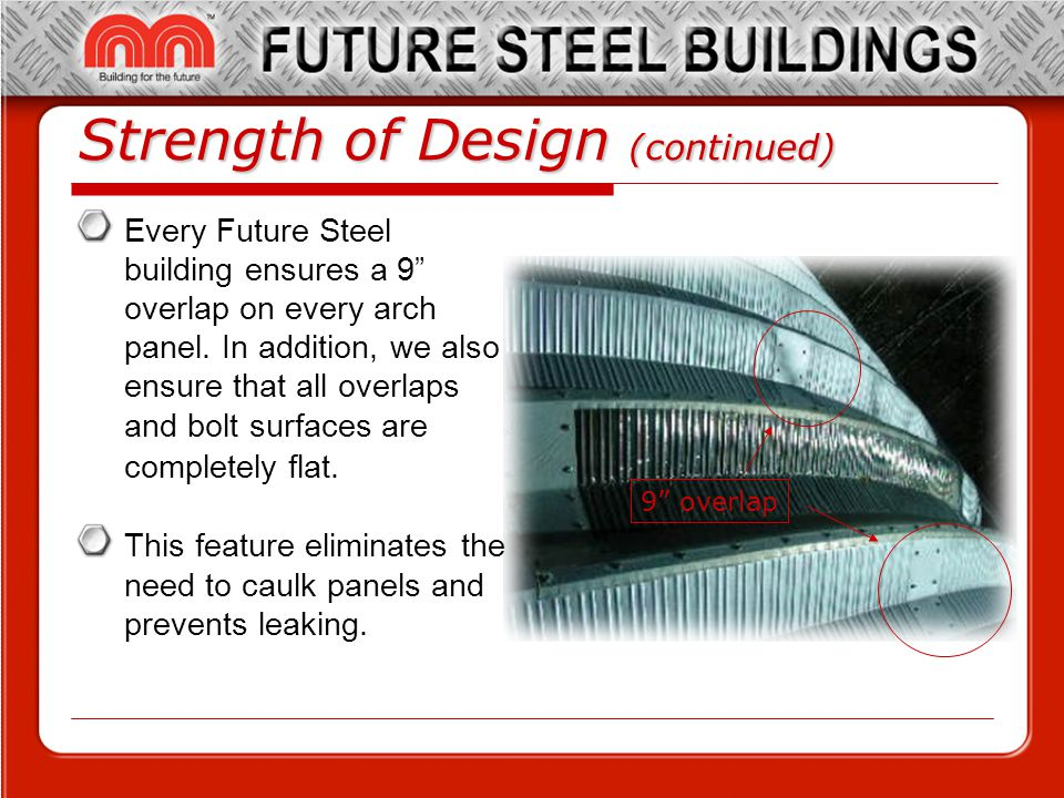 Strength of Design (continued) Every Future Steel building ensures a 9 overlap on every arch panel.