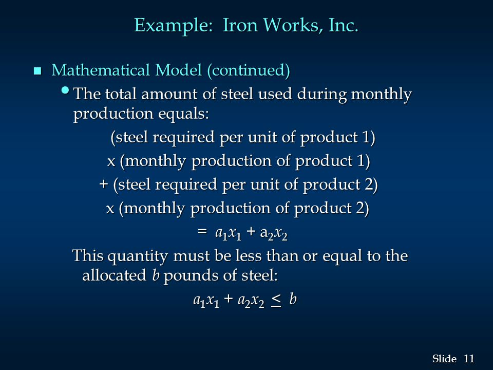 11 Slide Example: Iron Works, Inc.