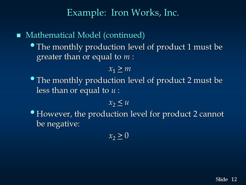 12 Slide Example: Iron Works, Inc.