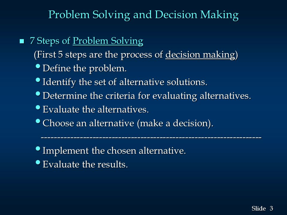 3 3 Slide n 7 Steps of Problem Solving (First 5 steps are the process of decision making) Define the problem.
