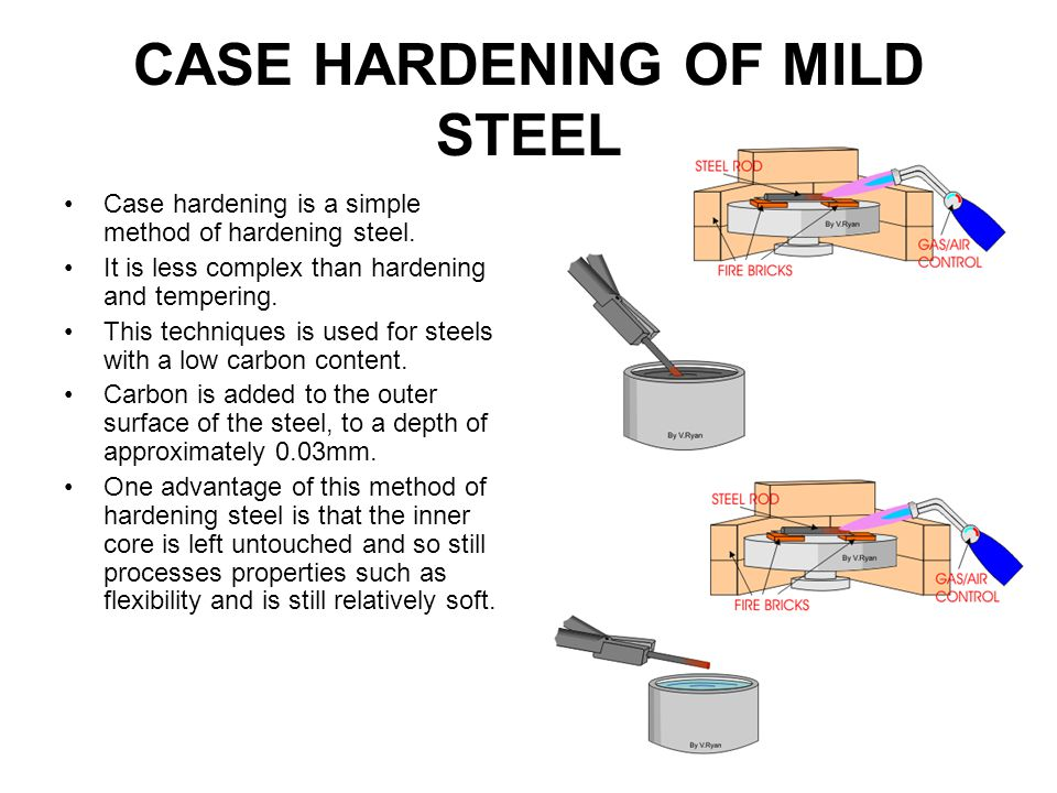 CASE HARDENING OF MILD STEEL Case hardening is a simple method of hardening steel. It is less complex than hardening and tempering. This techniques is