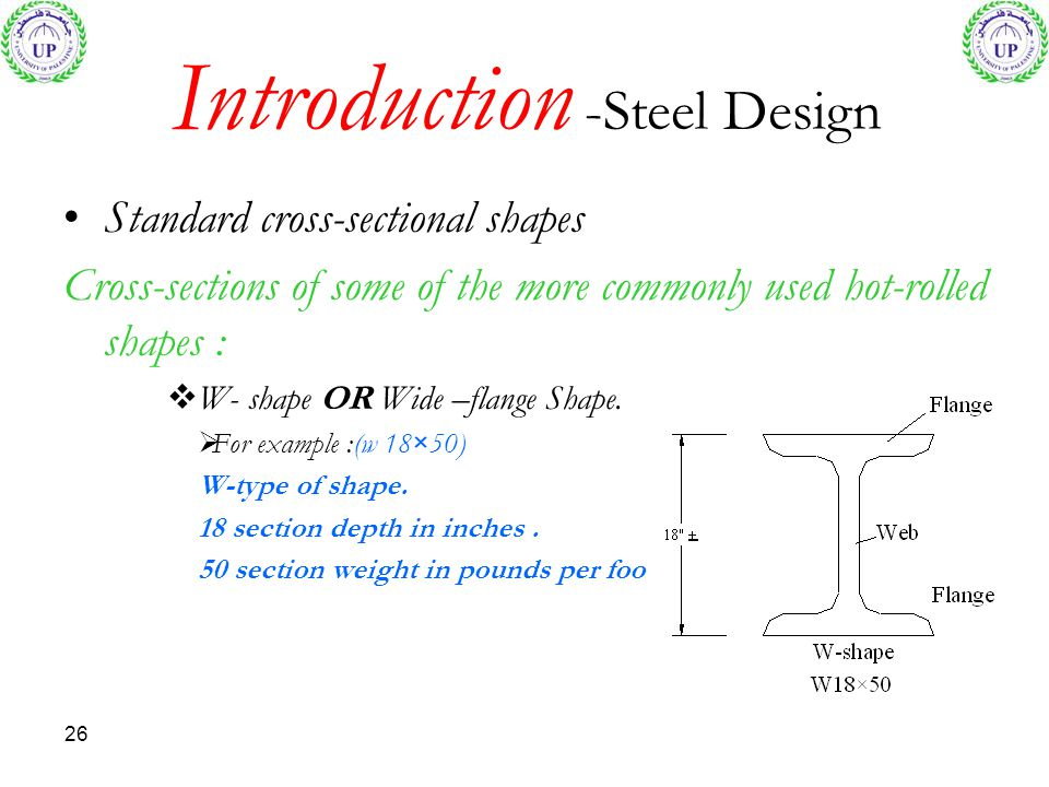 26 Introduction -Steel Design Standard cross-sectional shapes Cross-sections of some of the more commonly used hot-rolled shapes : W- shape OR Wide –f
