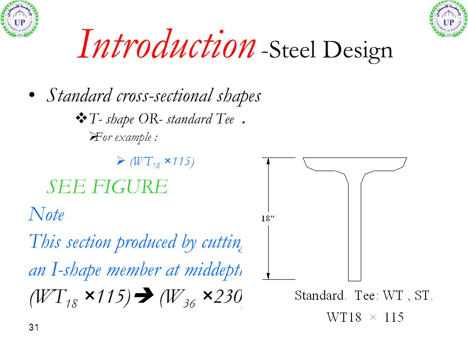 31 Introduction -Steel Design Standard cross-sectional shapes T- shape OR- standard Tee. For example : (WT 18 × 115) SEE FIGURE Note This section prod
