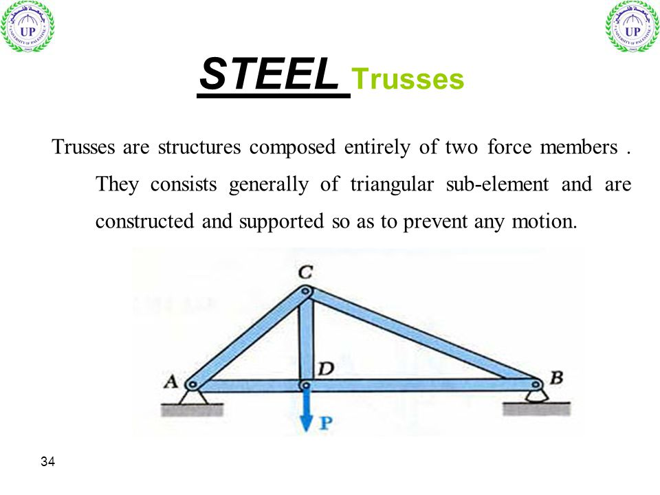 34 Trusses are structures composed entirely of two force members. They consists generally of triangular sub-element and are constructed and supported