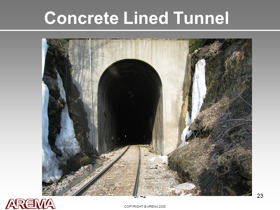 COPYRIGHT © AREMA 2008 of 4223 Concrete Lined Tunnel