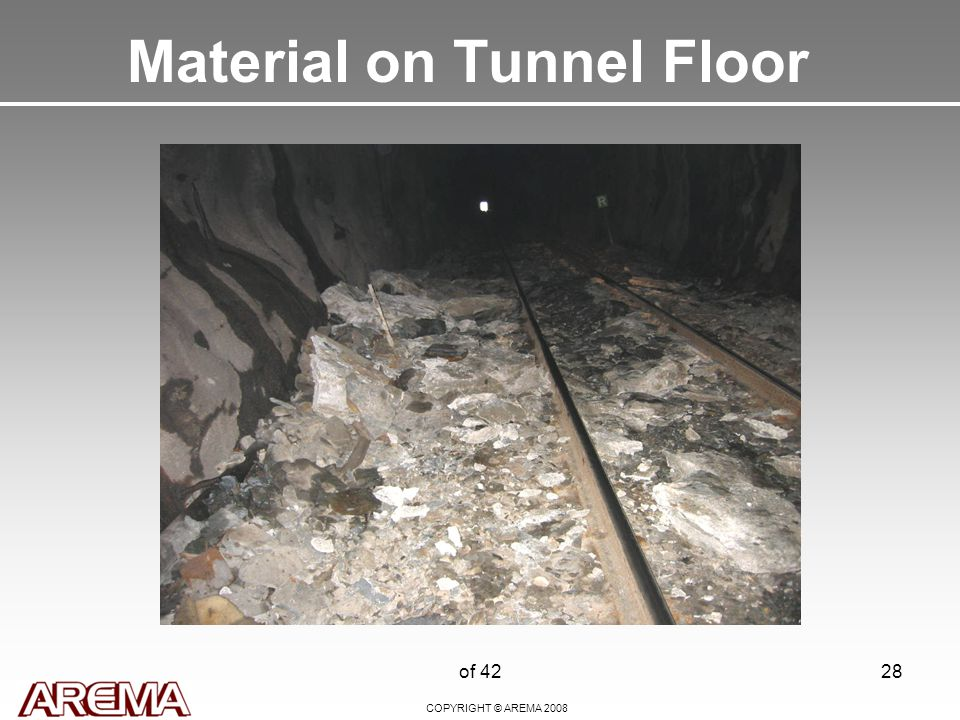 COPYRIGHT © AREMA 2008 of 4228 Material on Tunnel Floor