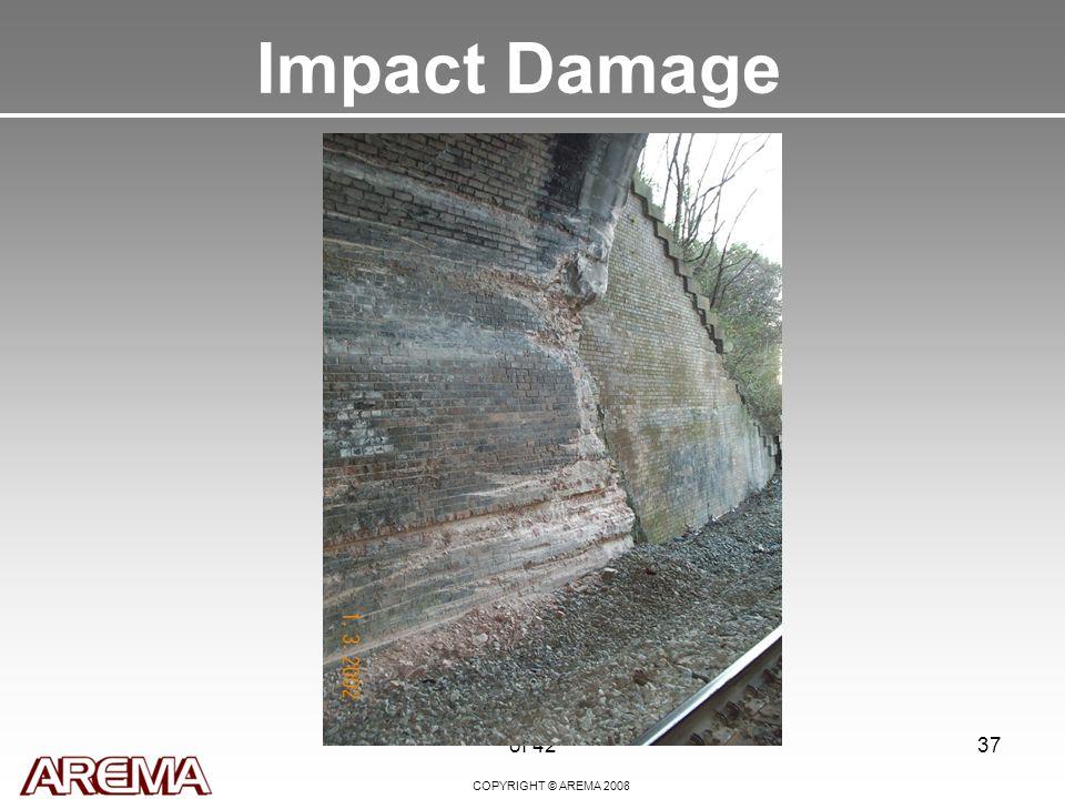 COPYRIGHT © AREMA 2008 of 4237 Impact Damage