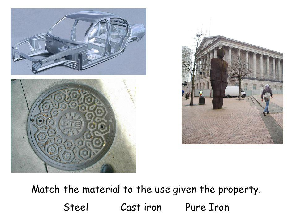Match the material to the use given the property. Steel Cast iron Pure Iron