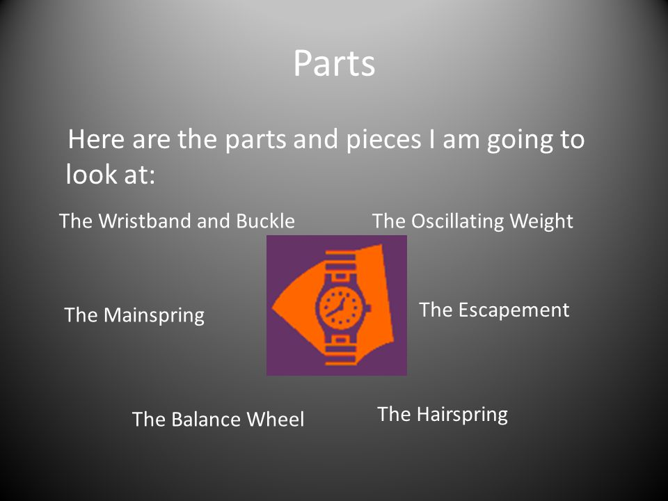 Parts Here are the parts and pieces I am going to look at: The Wristband and Buckle The Mainspring The Balance Wheel The Hairspring The Escapement The Oscillating Weight