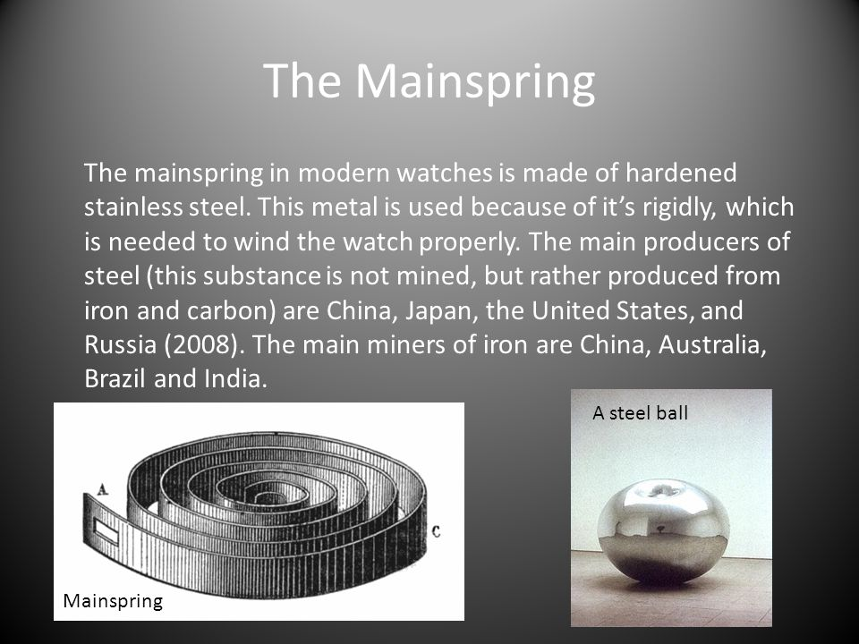 The Mainspring The mainspring in modern watches is made of hardened stainless steel.