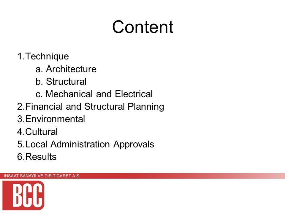 Content 1.Technique a. Architecture b. Structural c.