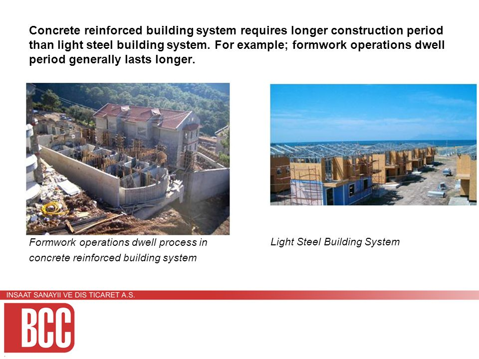 Concrete reinforced building system requires longer construction period than light steel building system.