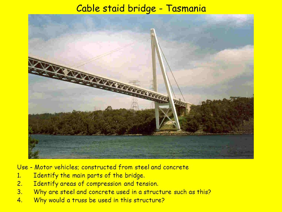 Cable staid bridge - Tasmania Use - Motor vehicles; constructed from steel and concrete 1.Identify the main parts of the bridge.